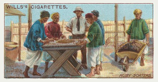Ruby sorters. Illustration for one of a series of cigarette cards on the subject of mining, published by Wills's Cigarettes, early 20th century.