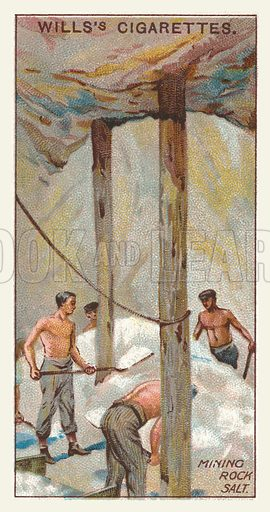 Mining rock salt. Illustration for one of a series of cigarette cards on the subject of mining, published by Wills's Cigarettes, early 20th century.