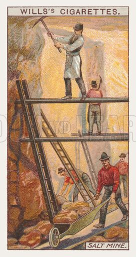 Salt mine. Illustration for one of a series of cigarette cards on the subject of mining, published by Wills's Cigarettes, early 20th century.