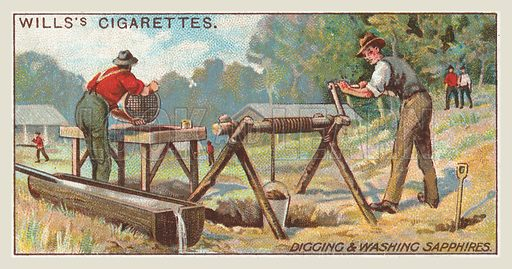 Digging and washing sapphires. Illustration for one of a series of cigarette cards on the subject of mining, published by Wills's Cigarettes, early 20th century.