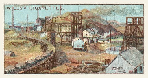 Silver mine. Illustration for one of a series of cigarette cards on the subject of mining, published by Wills's Cigarettes, early 20th century.
