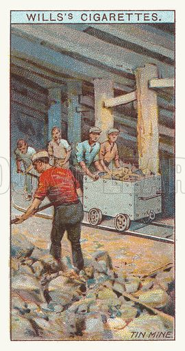 Tin mine. Illustration for one of a series of cigarette cards on the subject of mining, published by Wills's Cigarettes, early 20th century.