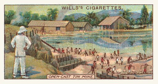 Open-cast tin mine. Illustration for one of a series of cigarette cards on the subject of mining, published by Wills's Cigarettes, early 20th century.