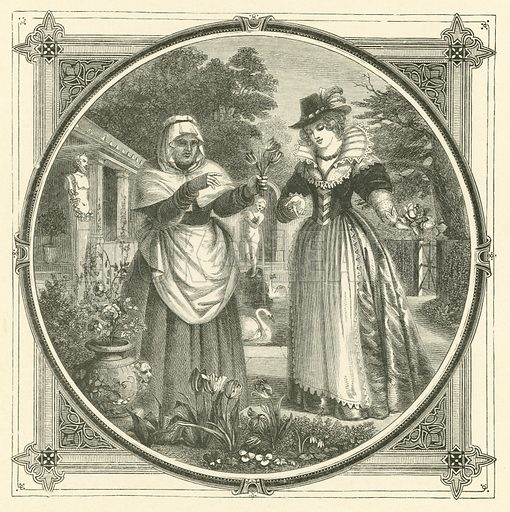 Every flower loses its perfume at last. Illustration for Moral Emblems with Aphorisms, Adages, and Proverbs of All Ages and Nations from Jacob Cats and Robert Farlie with illustrations freely rendered from designs found in the works by John Leighton, FSA, translated and edited with additions by Richard Pigot (Longman, 1860).