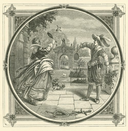 Love, like a ball, requires to be thrown back. Illustration for Moral Emblems with Aphorisms, Adages, and Proverbs of All Ages and Nations from Jacob Cats and Robert Farlie with illustrations freely rendered from designs found in the works by John Leighton, FSA, translated and edited with additions by Richard Pigot (Longman, 1860).