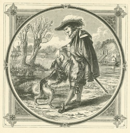 Play with the dog, and he'll spoil your clothes. Illustration for Moral Emblems with Aphorisms, Adages, and Proverbs of All Ages and Nations from Jacob Cats and Robert Farlie with illustrations freely rendered from designs found in the works by John Leighton, FSA, translated and edited with additions by Richard Pigot (Longman, 1860).