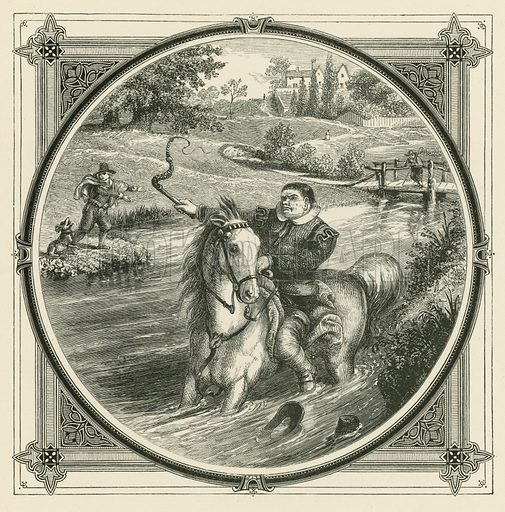 Though taken to the water's brink, no blows can force the horse to drink. Illustration for Moral Emblems with Aphorisms, Adages, and Proverbs of All Ages and Nations from Jacob Cats and Robert Farlie with illustrations freely rendered from designs found in the works by John Leighton, FSA, translated and edited with additions by Richard Pigot (Longman, 1860).