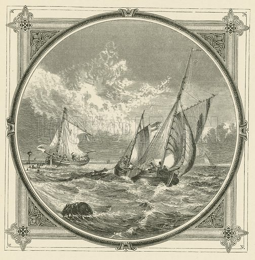 A ship aground, is a beacon at sea. Illustration for Moral Emblems with Aphorisms, Adages, and Proverbs of All Ages and Nations from Jacob Cats and Robert Farlie with illustrations freely rendered from designs found in the works by John Leighton, FSA, translated and edited with additions by Richard Pigot (Longman, 1860).