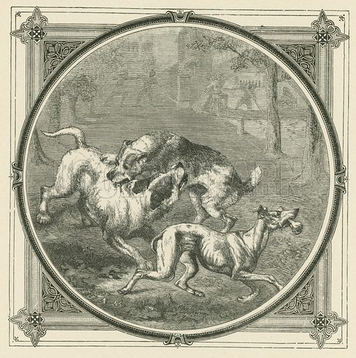 The dogs and the bone. Illustration for Moral Emblems with Aphorisms, Adages, and Proverbs of All Ages and Nations from Jacob Cats and Robert Farlie with illustrations freely rendered from designs found in the works by John Leighton, FSA, translated and edited with additions by Richard Pigot (Longman, 1860).