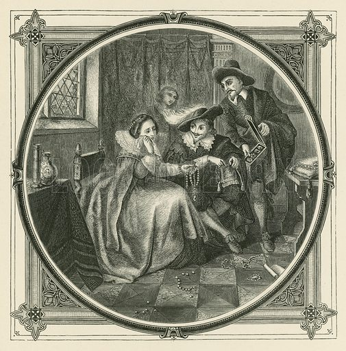 While she weeps, she devours. Illustration for Moral Emblems with Aphorisms, Adages, and Proverbs of All Ages and Nations from Jacob Cats and Robert Farlie with illustrations freely rendered from designs found in the works by John Leighton, FSA, translated and edited with additions by Richard Pigot (Longman, 1860).