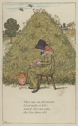 There was an old woman. Illustration for Mother Goose or the Old Nursery Rhymes (Frederick Warne, c 1895).