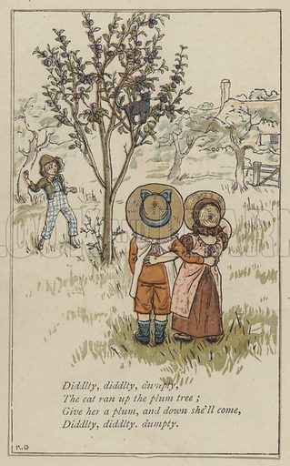 Diddlty, diddlty, dumpty. Illustration for Mother Goose or the Old Nursery Rhymes (Frederick Warne, c 1895).