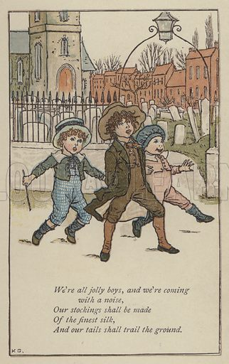 We're all jolly boys. Illustration for Mother Goose or the Old Nursery Rhymes (Frederick Warne, c 1895).
