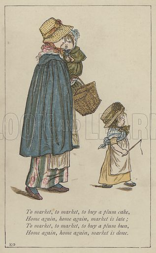 To market, to market, to buy a plum cake. Illustration for Mother Goose or the Old Nursery Rhymes (Frederick Warne, c 1895).