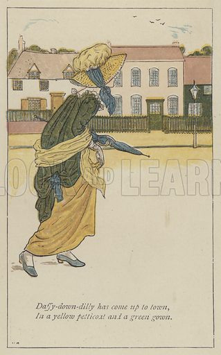 Daffy-down-dilly has come up to town. Illustration for Mother Goose or the Old Nursery Rhymes (Frederick Warne, c 1895).