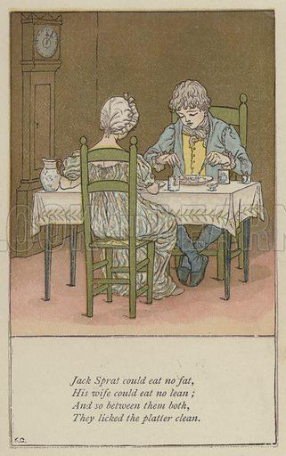 Jack Sprat could eat no fat. Illustration for Mother Goose or the Old Nursery Rhymes (Frederick Warne, c 1895).