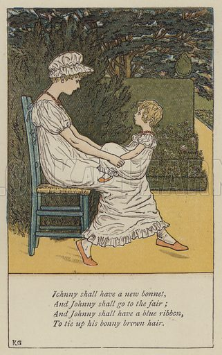 Johnny shall have a new bonnet. Illustration for Mother Goose or the Old Nursery Rhymes (Frederick Warne, c 1895).