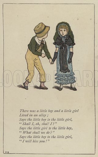 There was a little boy and a little girl. Illustration for Mother Goose or the Old Nursery Rhymes (Frederick Warne, c 1895).