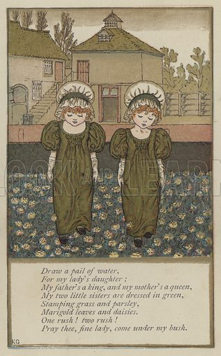 Draw a pail of water. Illustration for Mother Goose or the Old Nursery Rhymes (Frederick Warne, c 1895).
