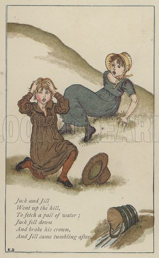 Jack and Jill. Illustration for Mother Goose or the Old Nursery Rhymes (Frederick Warne, c 1895).