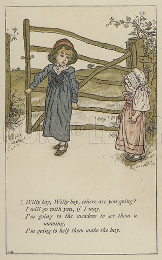 Willy boy, Willy boy, where are you going. Illustration for Mother Goose or the Old Nursery Rhymes (Frederick Warne, c 1895).