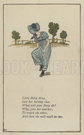 Little Betty Blue. Illustration for Mother Goose or the Old Nursery Rhymes (Frederick Warne, c 1895).