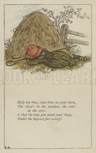 Billy boy blue, come blow me your horn. Illustration for Mother Goose or the Old Nursery Rhymes (Frederick Warne, c 1895).