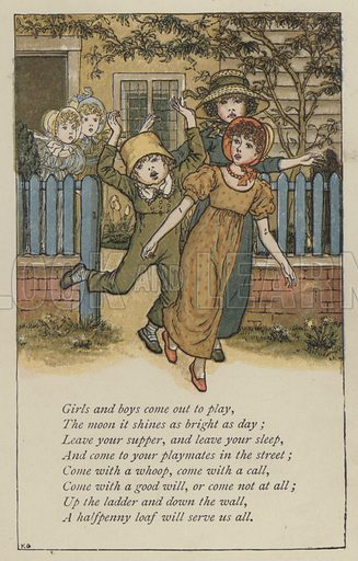 Girls and boys come out to play. Illustration for Mother Goose or the Old Nursery Rhymes (Frederick Warne, c 1895).