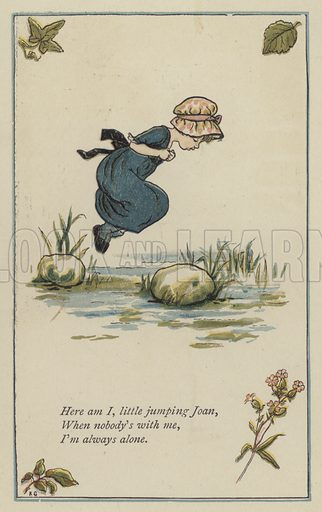 Here am I, little jumping Joan. Illustration for Mother Goose or the Old Nursery Rhymes (Frederick Warne, c 1895).