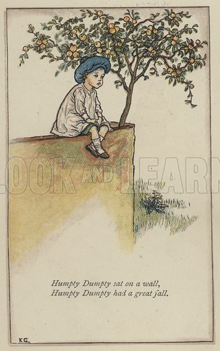 Humpty Dumpty sat on a wall. Illustration for Mother Goose or the Old Nursery Rhymes (Frederick Warne, c 1895).