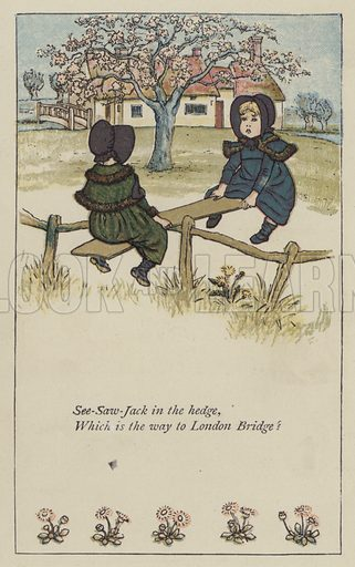 See-saw-Jack in the hedge. Illustration for Mother Goose or the Old Nursery Rhymes (Frederick Warne, c 1895).