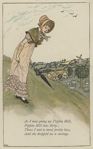 As I was going up Pippin Hill. Illustration for Mother Goose or the Old Nursery Rhymes (Frederick Warne, c 1895).