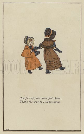 One foot up, the other foot down. Illustration for Mother Goose or the Old Nursery Rhymes (Frederick Warne, c 1895).