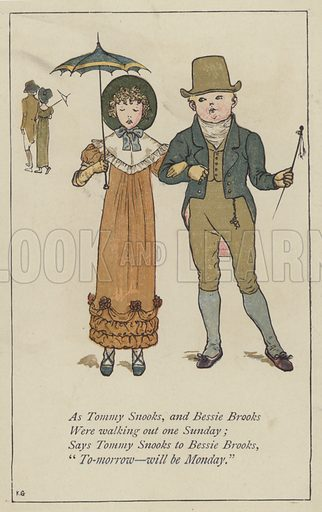 As Tommy Snooks and Bessie Brooks. Illustration for Mother Goose or the Old Nursery Rhymes (Frederick Warne, c 1895).