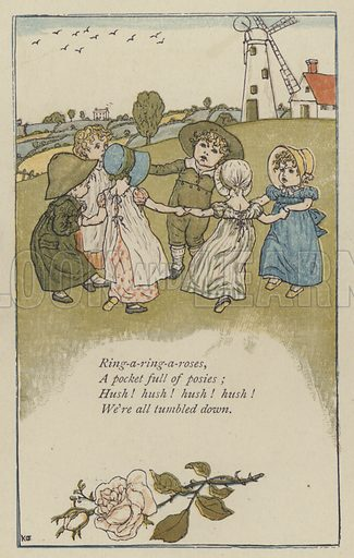 Ring-a-ring-a-roses. Illustration for Mother Goose or the Old Nursery Rhymes (Frederick Warne, c 1895).