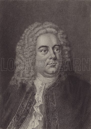 George Frederic Handel. Illustration for Cyclopedia of Music and Musicians edited by John Denison Champlin (Charles Scribner, 1888).