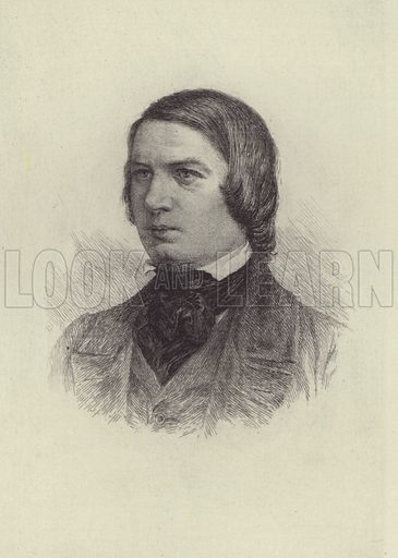Robert Schumann. Illustration for Cyclopedia of Music and Musicians edited by John Denison Champlin (Charles Scribner, 1888).