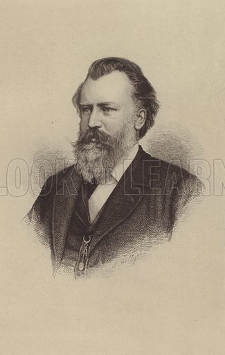 Johannes Brahms. Illustration for Cyclopedia of Music and Musicians edited by John Denison Champlin (Charles Scribner, 1888).