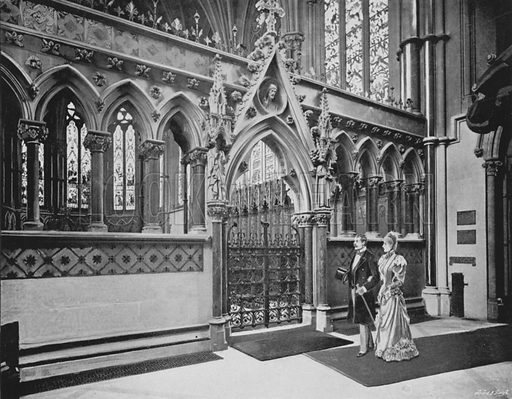 Exeter College Chapel, the Screen. Illustration for Sights and Scenes in Oxford City and University described by Thomas Whittaker (Cassell, c 1895).