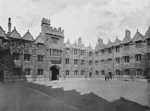 Oriel College, Quadrangle. Illustration for Sights and Scenes in Oxford City and University described by Thomas Whittaker  (Cassell, c 1895).