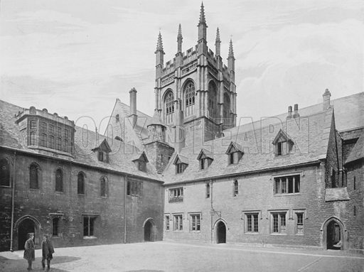 Merton College, Mob Quadrangle. Illustration for Sights and Scenes in Oxford City and University described by Thomas Whittaker (Cassell, c 1895).