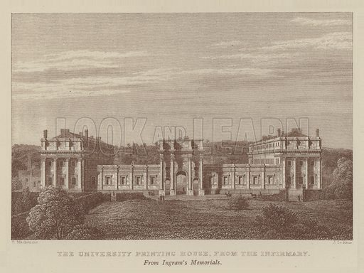 The University Printing House, from the Infirmary. Illustration for Oxford Men and their Colleges by Joseph Foster (James Parker, 1893).