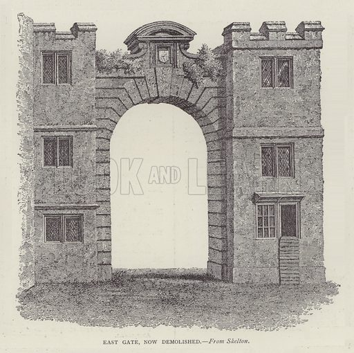 East Gate, now demolished. Illustration for Oxford Men and their Colleges by Joseph Foster (James Parker, 1893).