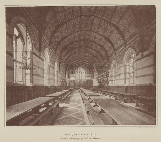 Hall, Keble College. Illustration for Oxford Men and their Colleges by Joseph Foster (James Parker, 1893).