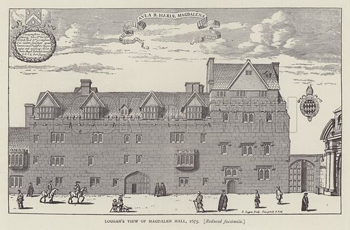 Loggan's view of Magdalen Hall, 1675. Illustration for Oxford Men and their Colleges by Joseph Foster (James Parker, 1893).