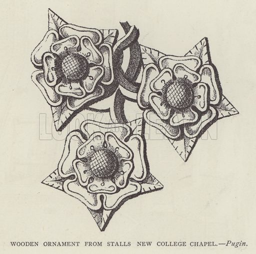 Wooden Ornament from Stalls New College Chapel. Illustration for Oxford Men and their Colleges by Joseph Foster (James Parker, 1893).