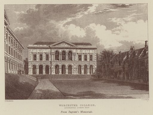 Worcester College, Quadrangle looking east. Illustration for Oxford Men and their Colleges by Joseph Foster (James Parker, 1893).