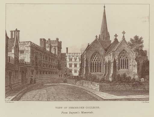 View of Pembroke College. Illustration for Oxford Men and their Colleges by Joseph Foster (James Parker, 1893).