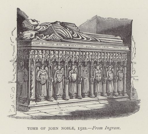 Tomb of John Noble, 1522. Illustration for Oxford Men and their Colleges by Joseph Foster (James Parker, 1893).