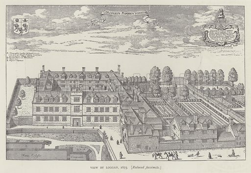 View by Loggan, 1675. Illustration for Oxford Men and their Colleges by Joseph Foster (James Parker, 1893).